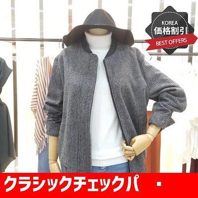 クラシックチェックパターンのジャンパーTHAM0JP52 /フード/ジップアップジャンパー/ 韓国ファッション