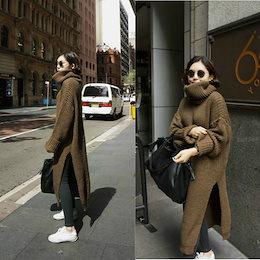 \カートクーポン適応/韓国ファッション 秋冬新作 ニットロングワンピース ハイネック ゆったデザイン体型カバー
