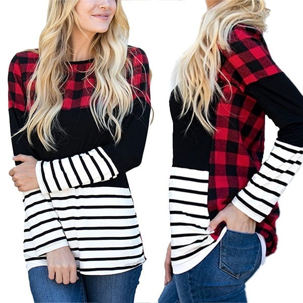 Autumn Women Fashion Long Sleeve Color Block Plaid Tunic Striped Patchwork Casual Shirts Tops