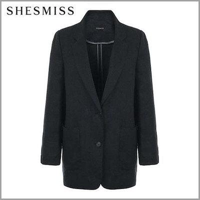 [シーズ・ミス]、シーズ・ミスヘリンボーンシングルツーボタンのリンネンジャケットSWWJKI20020DN /テーラードジャケット/ 韓国ファッション