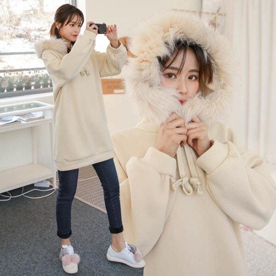 ピンクシスレー飯富起毛のミンキロングフドゥ 綿ワンピース/ 韓国ファッション