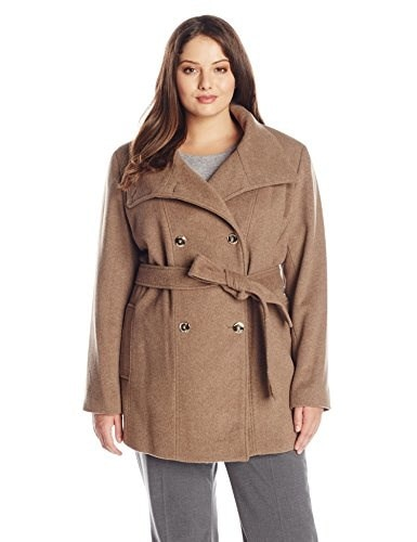 Calvin Klein Womens Plus Size Basketweave Wool Double Breasted Coat, Oatmeal, 2X
