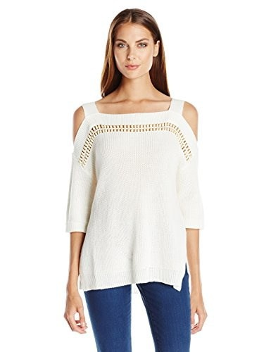 Ella moss Womens Jordin Cold Shoulder Sweater, White, Large