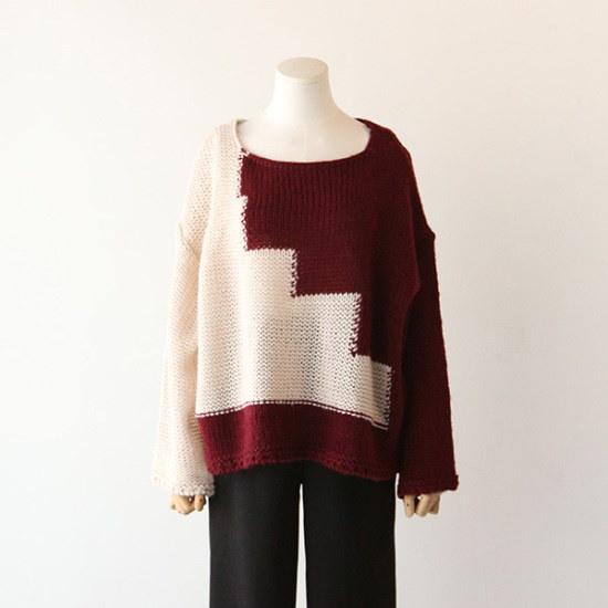 ピグメントシャドゥ配色ニートA16111507 パターンニット/ニット/セーター/韓国ファッション