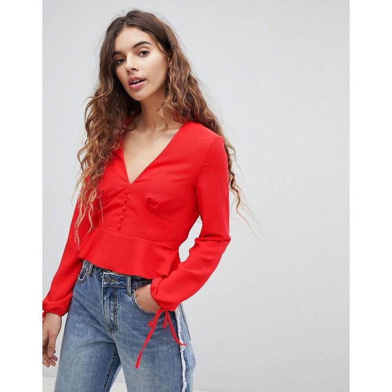 ミス セルフリッジ レディース トップス ブラウス・シャツ【Miss Selfridge Button Down Tie Sleeve Blouse】Red