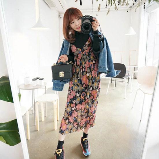 素であるステルリフラワーロングワンピース シフォン/レースのワンピース/ 韓国ファッション