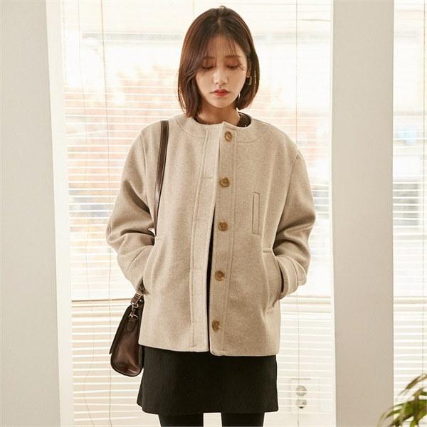 ロコ・シックスjay wool round short coatコートnew 女性のコート/ 韓国ファッション/ジャケット/秋冬/レディース/ハーフ/ロング/