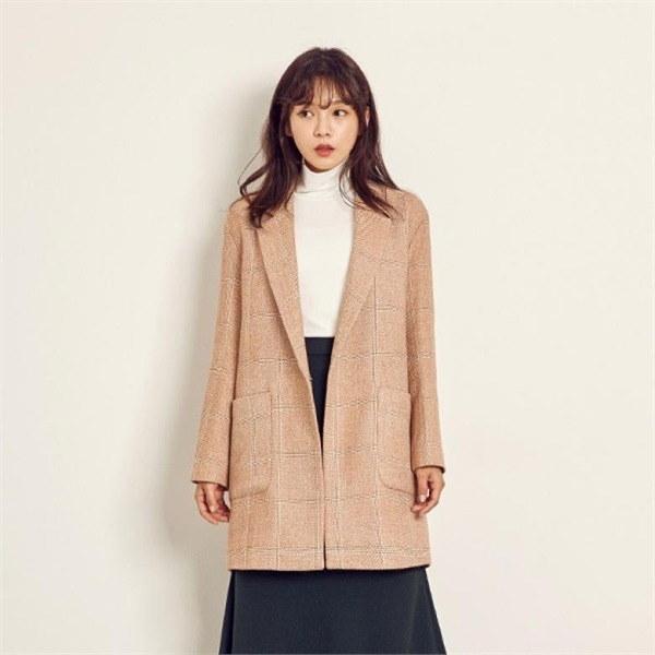 チェックロング一チェイル毛織ジャケットJ92NBB622new 女性のジャケット / 韓国ファッション/ジャケット/秋冬/レディース/ハーフ/ロング/