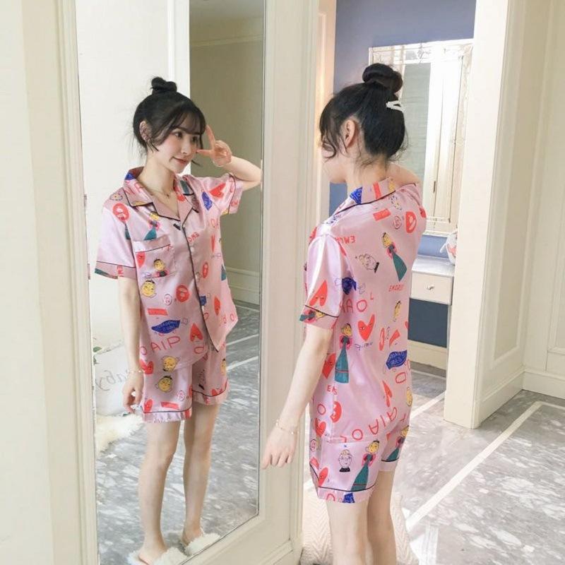 d7ddc8116bd95b シルク風パジャマ \2点セット/韓国ファッション 花柄ルームウェア/パジャマ