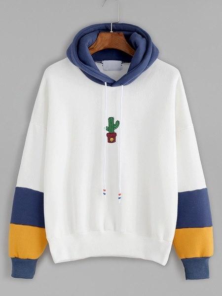 白い女性のセータールースサボテンの刺繍印刷ベルトフード付きのスエットシャツ
