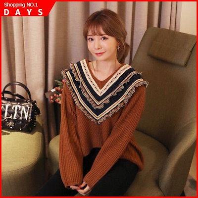 [素である][素である]マタナやフリルニット /ニット/セーター/ニット/韓国ファッション