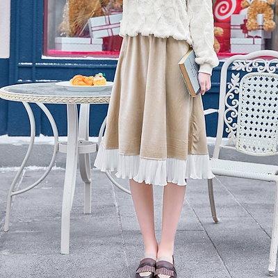 トレンド 売れ筋 春 スカート ハイウエスト ベルベット ギャザー レトロ 膝下 デート 女子会fk0419