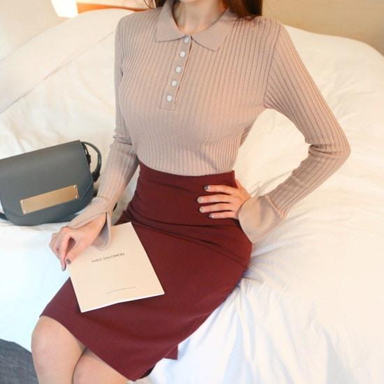 セントマリーゴルジカラ長い腕ティーデイリーゴルジ伸縮性カラーティー ニット/セーター/カラーニット/韓国ファッション