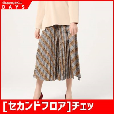 [セカンドフロア]チェックアンバランススカートSWMS4WSA23 /スカート/しわ/プリーツスカート/ 韓国ファッション