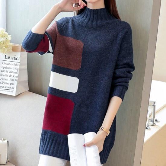 オーサムビントゥ配色のポーラー・ニット232777 ニット/セーター/タートルネック/ポーラーニット/韓国ファッション
