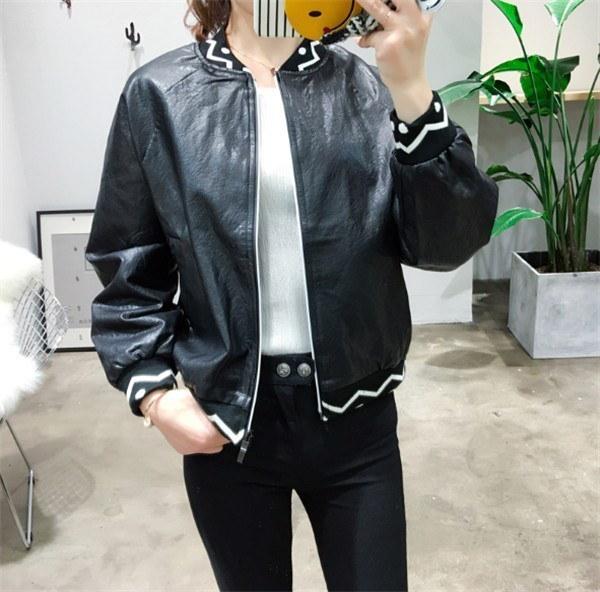 レディースジャケット ブルゾン PU 詰め襟 対比色 ジャンパー マッチングしやすい 着心地よい ライトアウター レディースジャケット