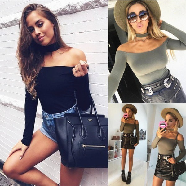 Women s Simple Flat Shoulder Piece Pants Sexy Solid Color Party Bodysuit