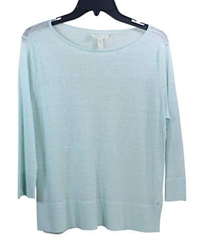 Eileen Fisher Linen Crepe Knit Round Neck 3/4 Sleeve Box Top Sweater Aurora (X-Large)