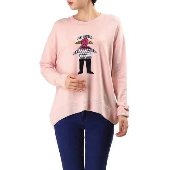 ベネトンキャラクター自首ニットプルオーバーBAKP50631 ニット/セーター/韓国ファッション