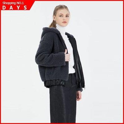 [シスレー(女性衣類)]配色ブークレフードジャンパーSALE46861GR /デニムジャケット/ジャケット/韓国ファッション