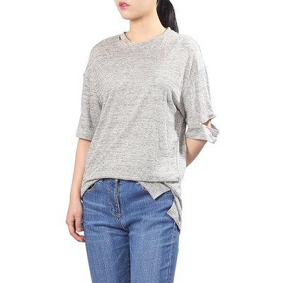 メゾン・つけたネックスリットポイントティーシャツMHBCL461 ティーシャツ / ソリッド/無知ティーシャツ / 韓国ファッション