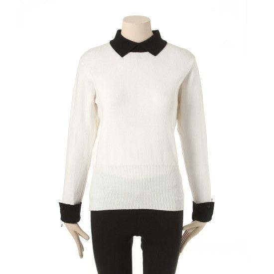プラスチックアイルランドカラ小売配色ニットPG1KL201IVsrcLangTypeko ニット/セーター/ニット/韓国ファッション