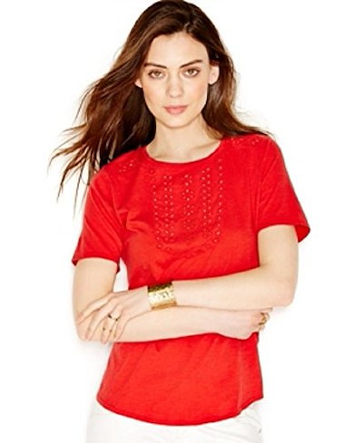 Lucky Brand Floral Eyelet T-Shirt Coral XL