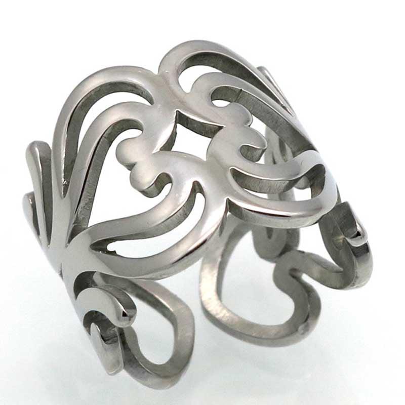 ハートエンブレムステンレスリング(LRC231) 指輪 サージカルステンレス316L メンズ レディース ペアリング プレゼント ギフト フリーサイズ r0225xxxxxxxx