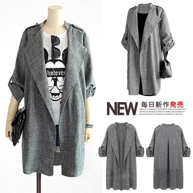 ジャケット ジャケット コート ロングコート 長袖 ロールアップ アウター  大きいサイズ対応