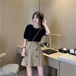 軽やかに、そして華やかに 韓国ファッション Aライン ショートスカート 百掛け ハイウエスト ミニスカート イレギュラー スカート ピュアカラー 気質 プリーツスカート怠惰な風 カジュアル 大人気