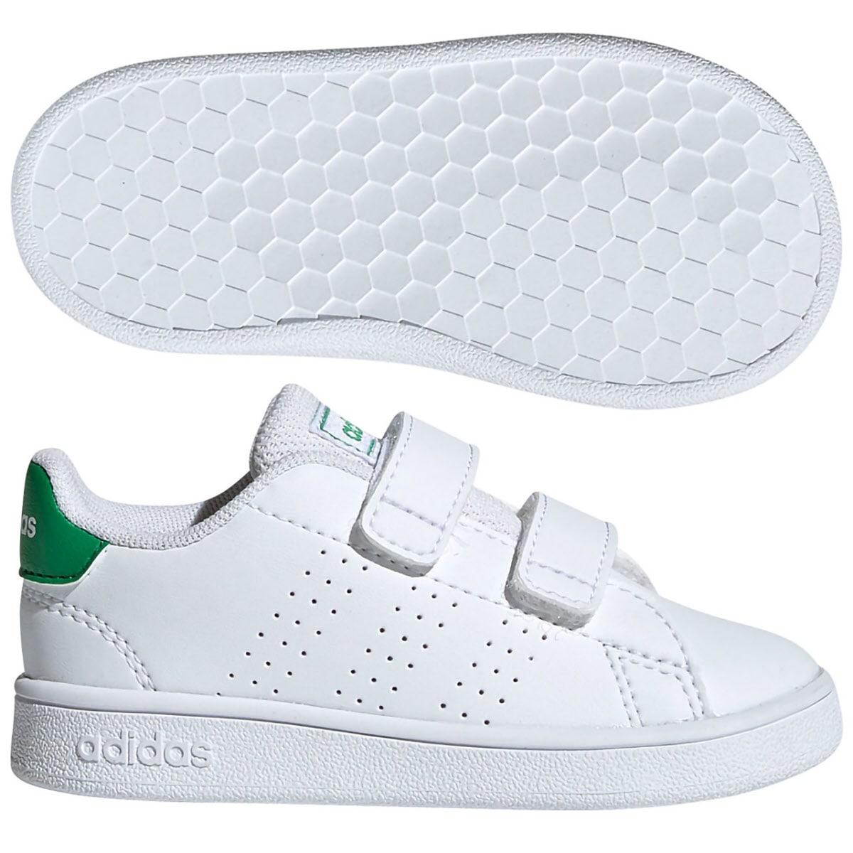 アディダス (adidas) ベビー ADVANCOURT(ランニングホワイト×グリーン×グレーTWO) EF0301 [分類:ベビー服 ベビーシューズ]