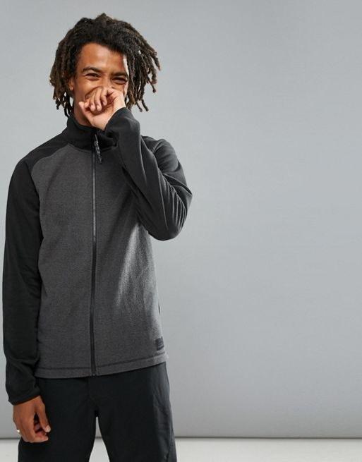ONeill Ventilator Full Zip Fleece Sweat Raglan in Gray/Black