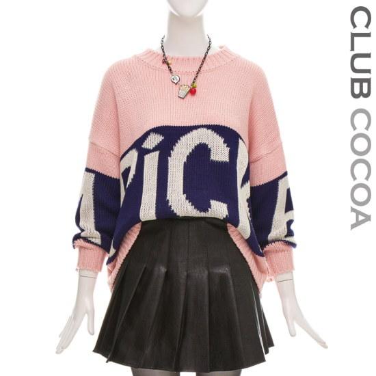 クラブココアルーズフィットレタリングニットCGW1KT9040 ニット/セーター/ニット/韓国ファッション