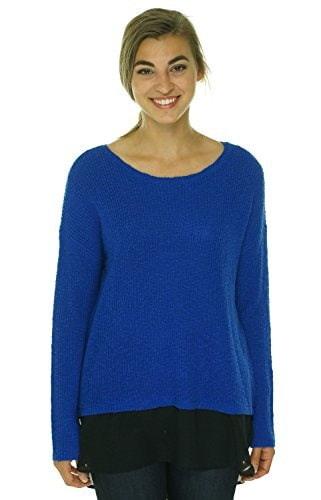 Tara by Vince Camuto Womens Chiffon Shirttail Sweater Bright Blue M