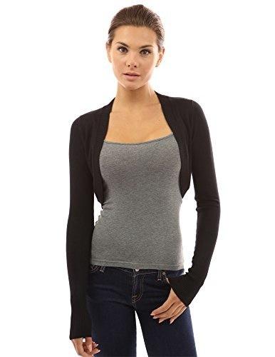 PattyBoutik Womens Bolero Shrug Light Knit Cardigan (Black M)