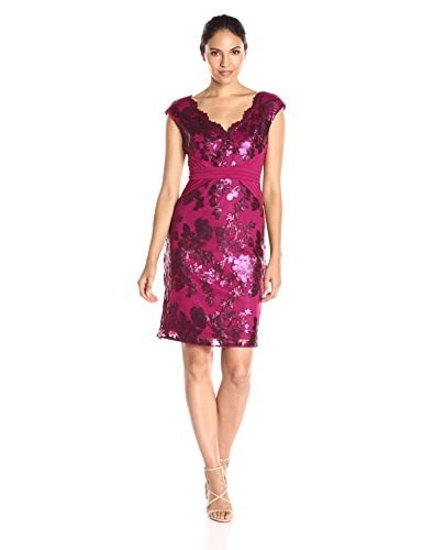Adrianna Papell Womens Pintucked Jersey and Sequin Sheath Dress, Cerise, 16