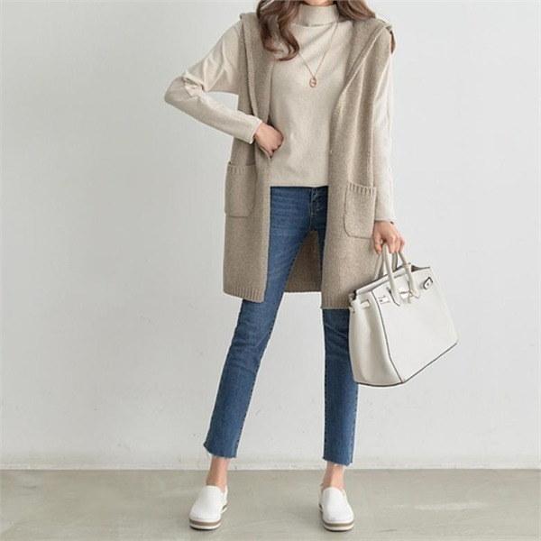 【ペッパー】フードウール混ロングベスト#20746 new 女性ニット/ニットベスト/韓国ファッション