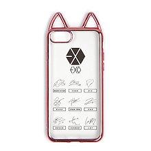 Fanstown KPOP 韓流 ピンク可愛い猫耳スタイル ソフトケース携帯ケース 電気めっきのエッジケース (iPhone 7/8 EXO)EXOiPhone 7/8