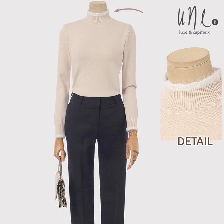 UNE [ウィン] [アンゴラ混]配色ハイネックアンゴラニット/韓国ファッション