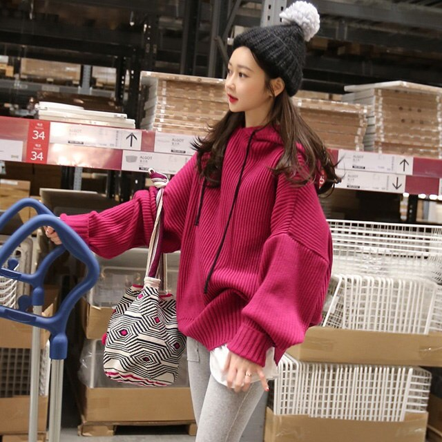 [Minsshop] Prune knit hood Korean fashion style