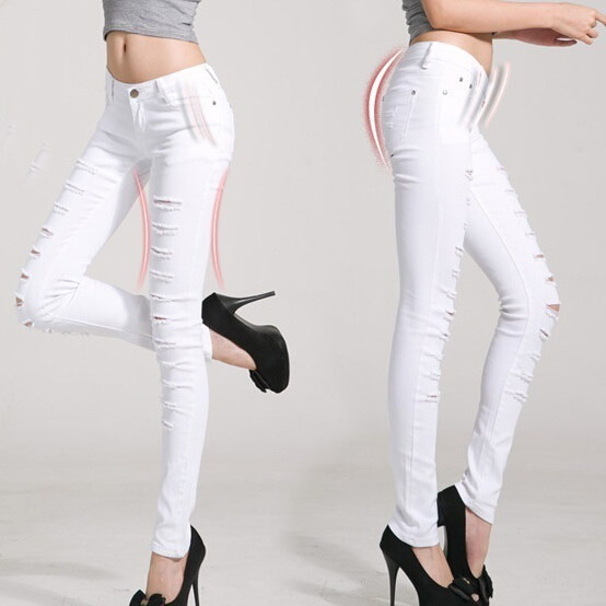 Women Jeans Pants Hot Sale Pencil Full Length Denim Ripped Punk Cut-out Plus Size Sexy Skinny Jean C