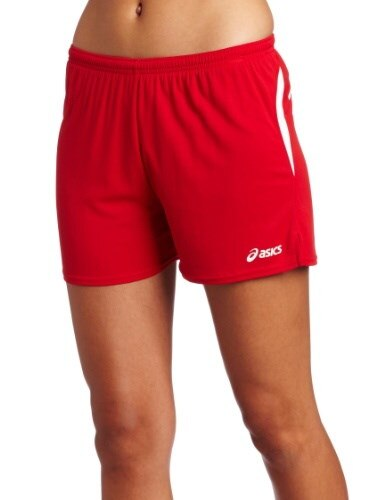 ASICS Womens Interval Short, Red/White, Small