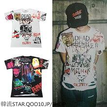 【SUPER SALE】G-DRAGON同型/雑誌/INS半袖Tシャツ/落書きロゴ/BIGBANG STYLE/GD/G-DRAGON STYLE/bigbang 服/bigbang