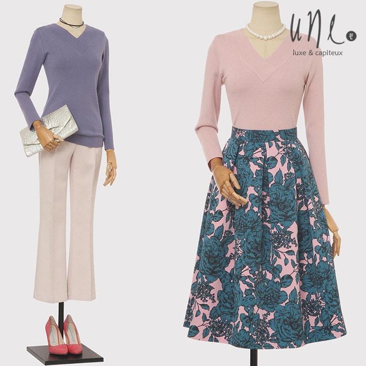 UNE [ウィン]フェミニンシックVネックスリムニット/韓国ファッション