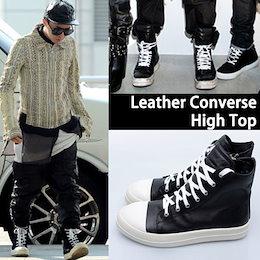 【K-POPファッション通販】【高クオリティー】【送料無料】G-DRAGON FASHION STYLE!牛革レザーハイトップ/Leather High Top