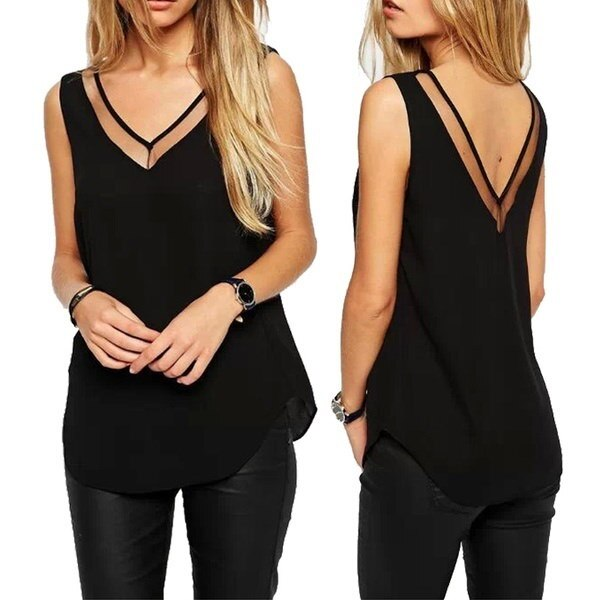 Women Sexy T-shirt Sleeveless Casual Tops Summer T-shirt Blouse Chiffon Shirt