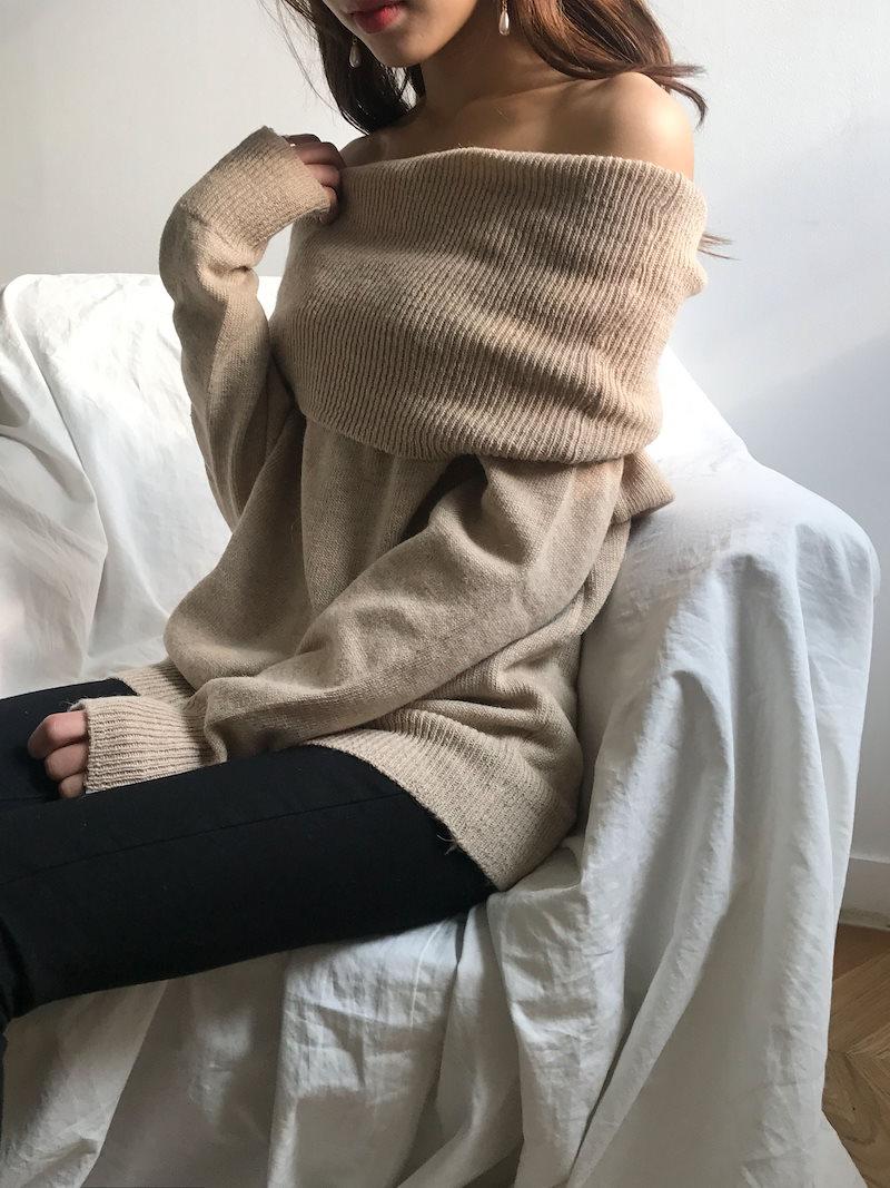ユイルーズフィットオフショルダーニットkorea fashion style