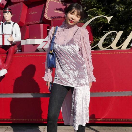 リプハプLIPHOPスリットベルベットワンピース 綿ワンピース/ 韓国ファッション