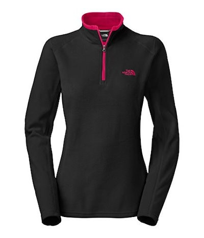 Womens The North Face Glacier 1/4 Zip Pullover TNF Black/Cerise Pink Heather Size X-Small
