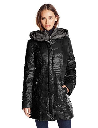 Kensie Womens Packable Down Coat with Hood, Black, Small